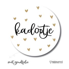 Stickers kadootje gouden hartjes