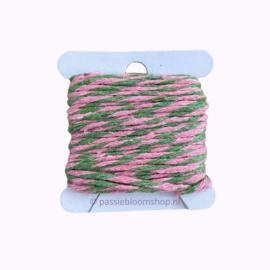 Bakkerstouw roze / groen (5 meter)