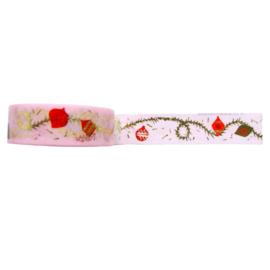 Washi tape kerst slinger roze goud