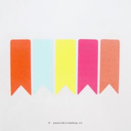 Stickers vlaggetjes Neon kleuren