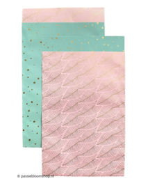 MIX roze veren / mint stippen (10 zakjes)