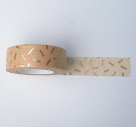 Washi tape | Oude roze straciatella strepen goud