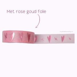 Washi tape hartjes en kusjes rosé roze
