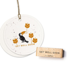 Typemachine tekst stempel get well soon