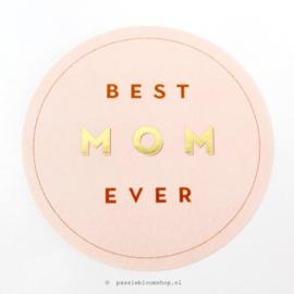 Sluitstickers rond best mom Roze