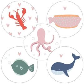 Sluitsticker set zee dieren (5stuks)