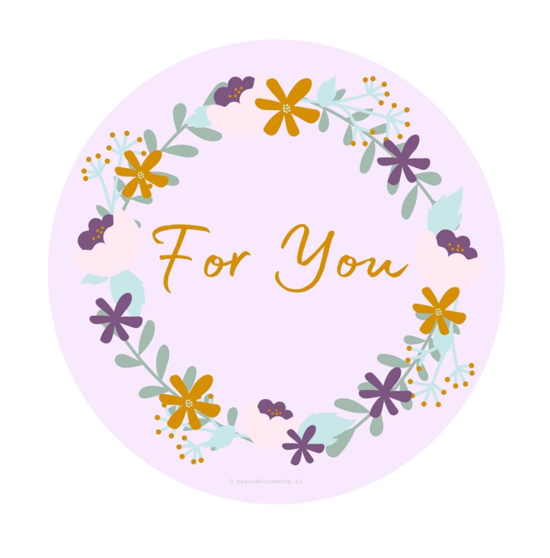 Sluitsticker for you bloemenkrans