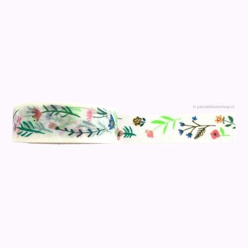 Washi tape bloemetjes neon groen