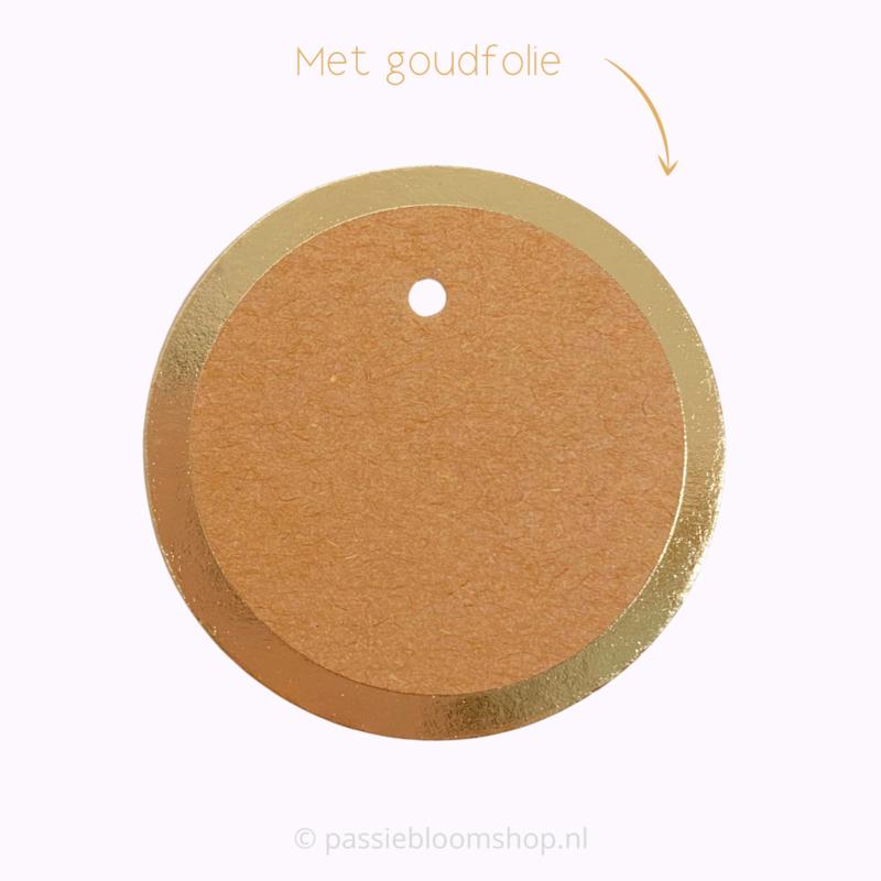 Blanco rond label Kraft met gouden rand (5 stuks)