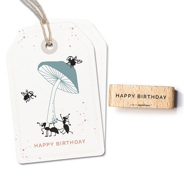 Typemachine tekst stempel happy birthday