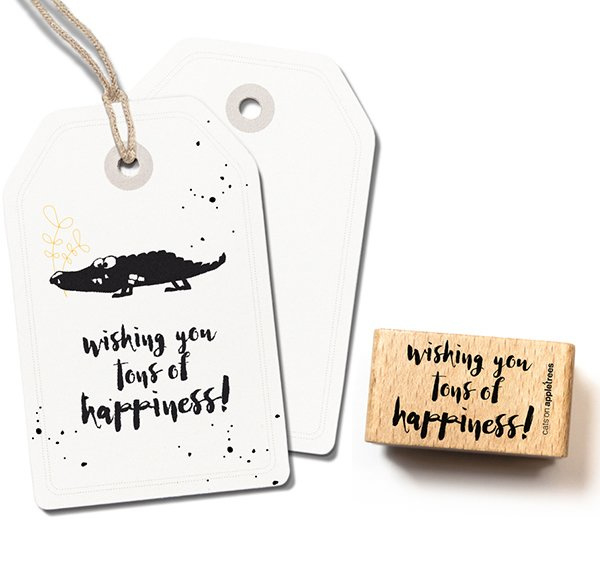 Tekst stempel hout   happiness