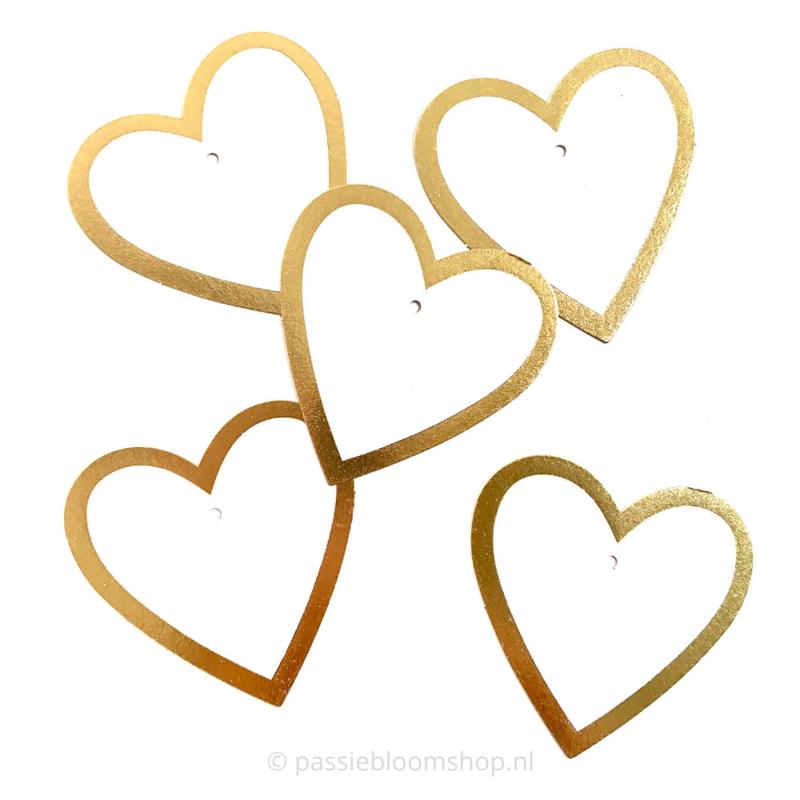 Blanco label hartje wit met gouden rand (5 stuks)