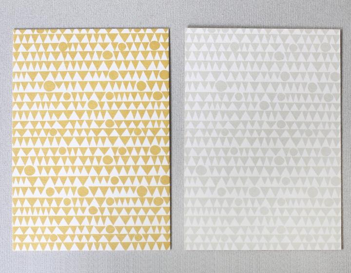 DIY zelf een kaart maken, okergeel patroon A6 DIK