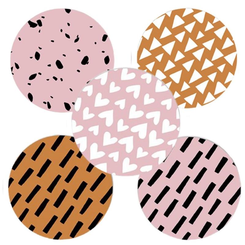 Sluitstickers grafische patronen roze  (5 stuks)
