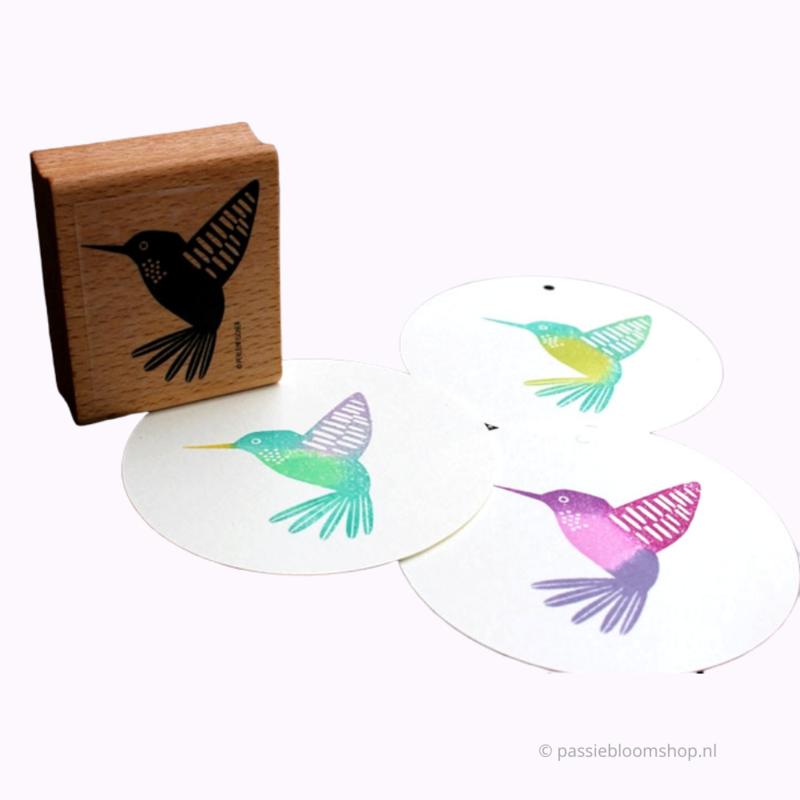 Stempel hout kolibri vogel