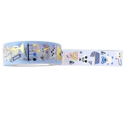 Washi tape geboorte baby jongen blauw