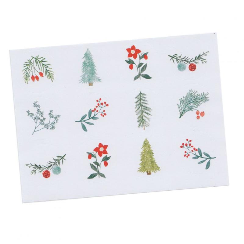 Stickers kerst takjes groen