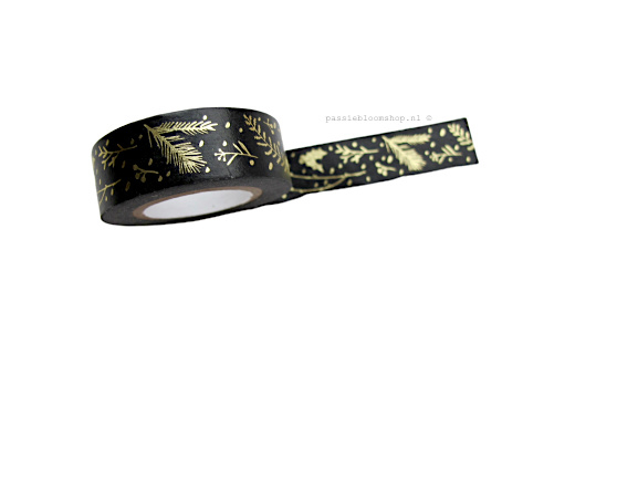 Washi tape takjes zwart goud