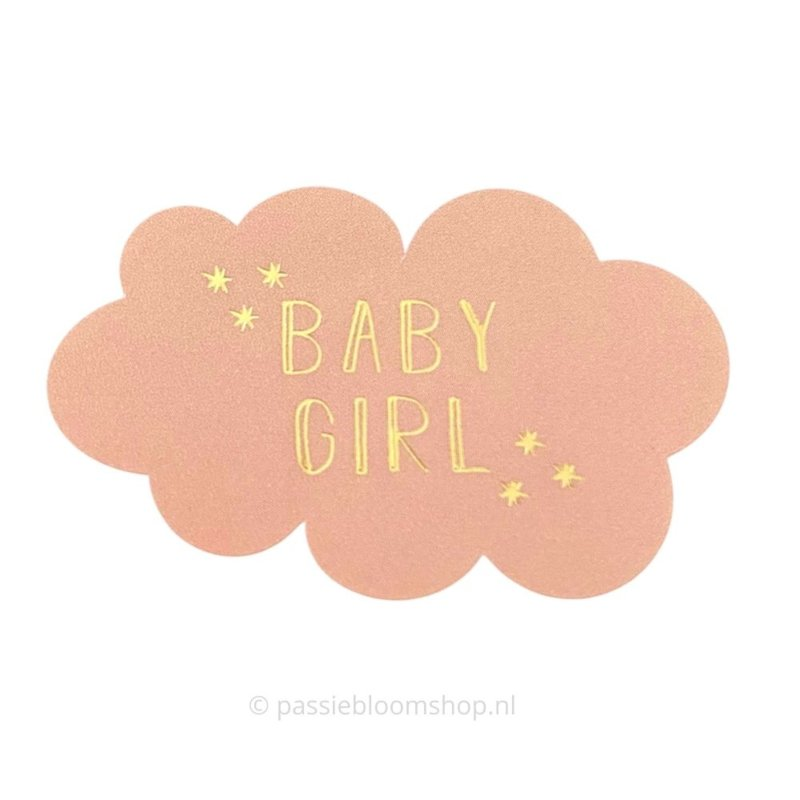 Sluitsticker wolkje baby girl roze