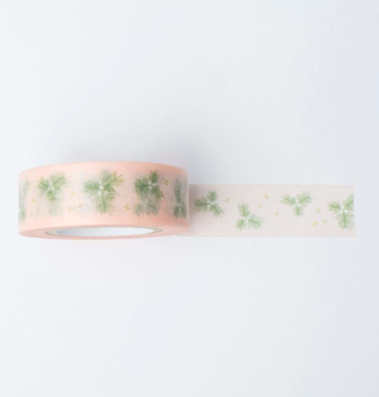 Washi tape | Kerst takjes roze
