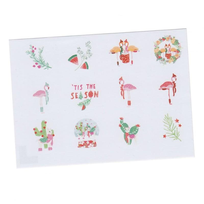 Stickers tropische kerst, flamingo, cactus