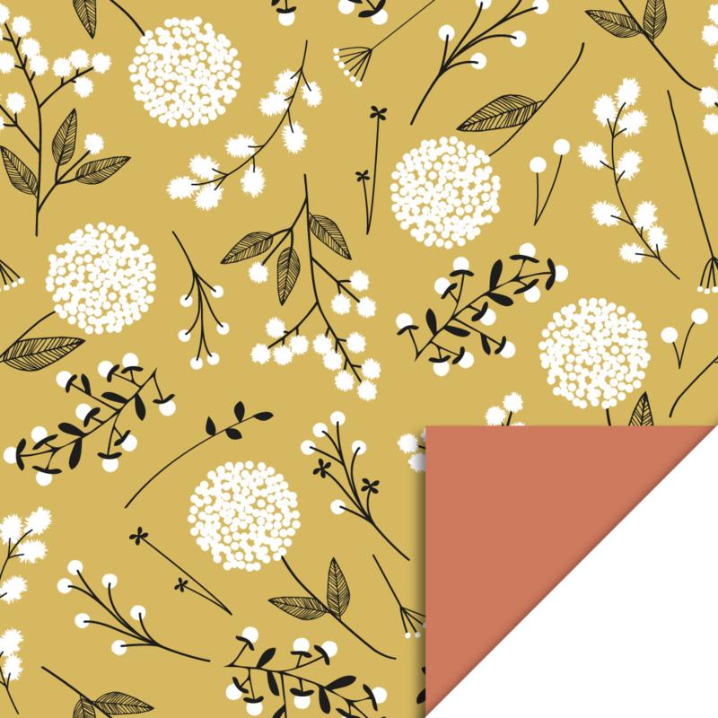 Cadeauzakjes veld bloemen okergeel