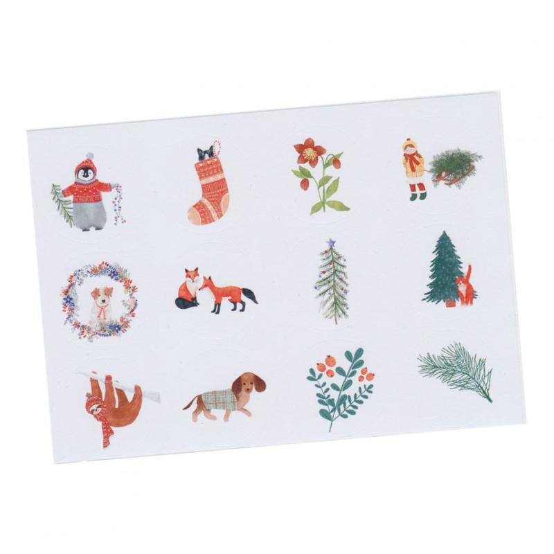 Stickers kerst dieren winter