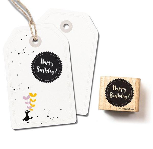 Tekst stempel happy birthday in cirkel