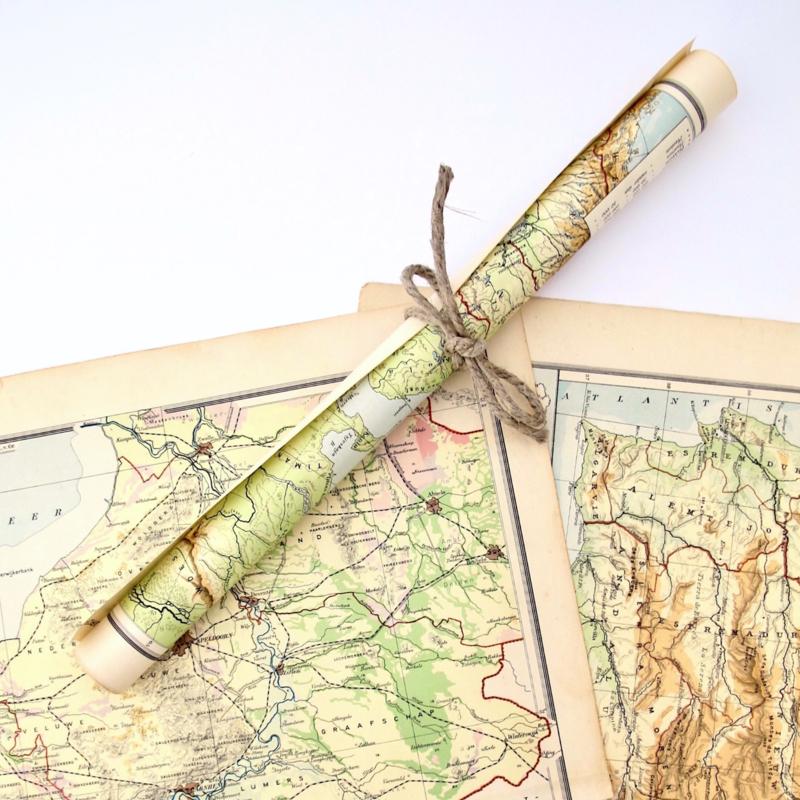 Vintage papier atlas, wereldkaart