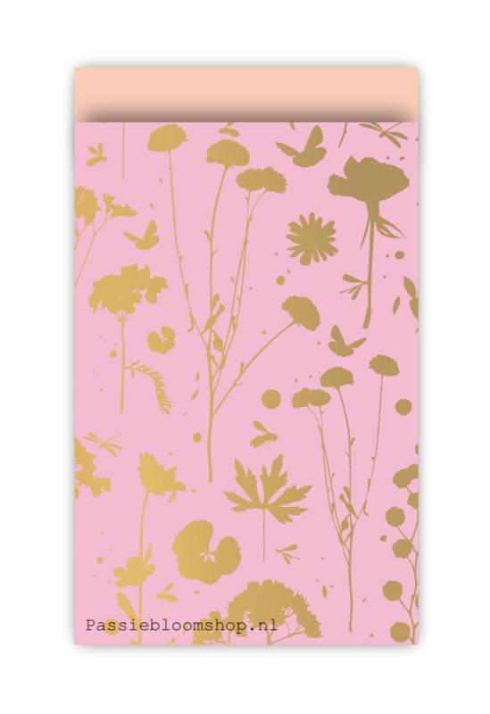 Cadeauzakjes voorjaar bloemen roze goud