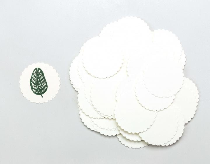 Gift tag blanco rond met kartelrand (5stuks)