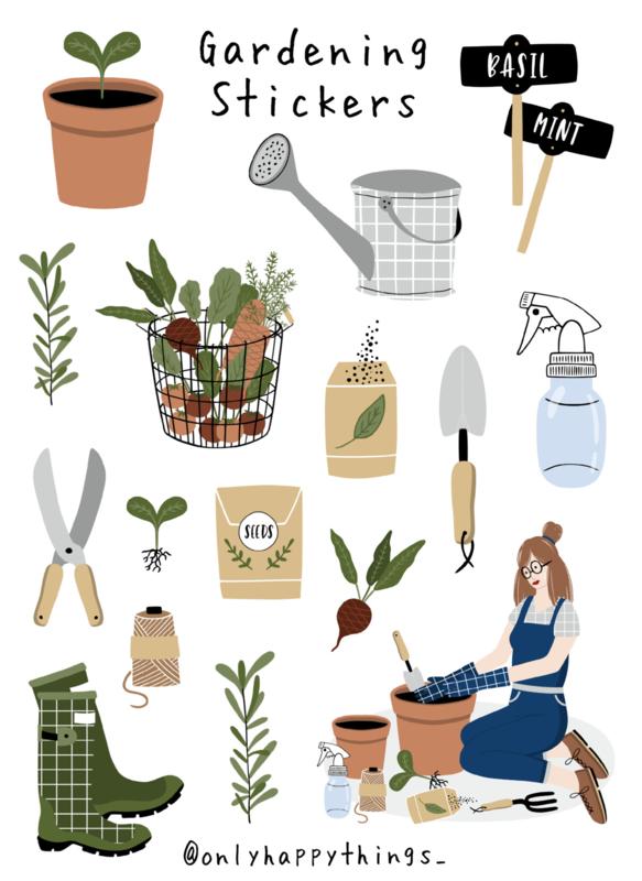 Stickers buiten tuinieren, gardening thema