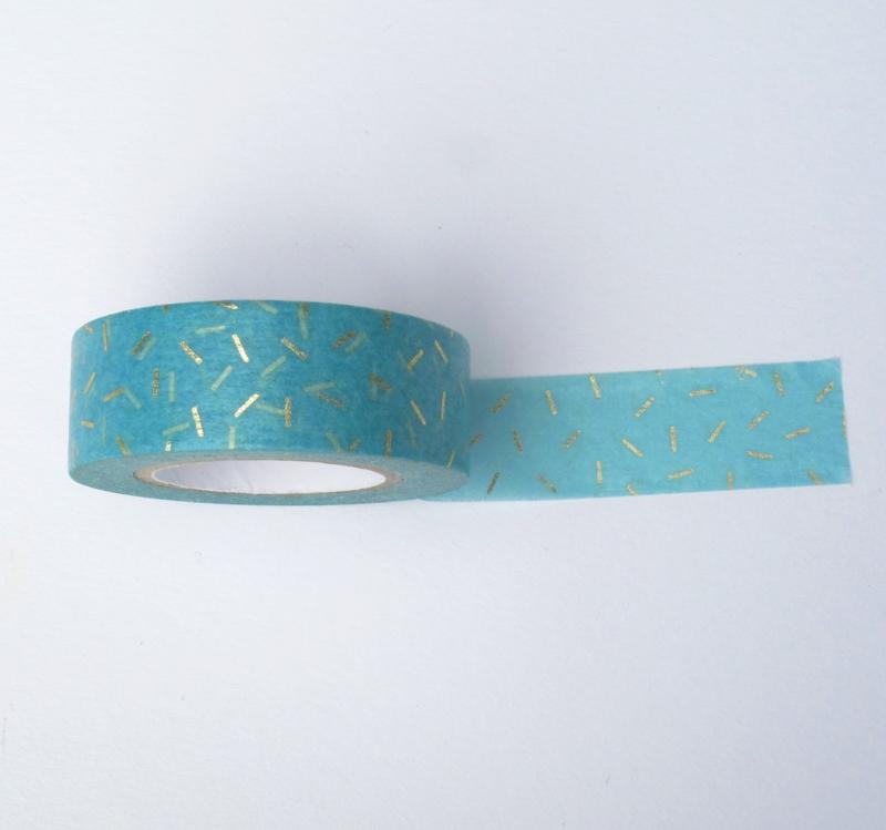 Washi tape | Blauw met gouden hagelslag strepen