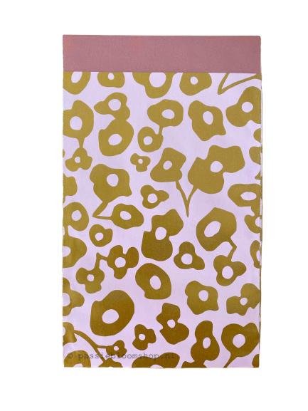 Cadeauzakje roze gouden bloemen 12x19