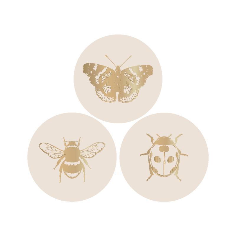 Sluitstickers insecten naturel goud