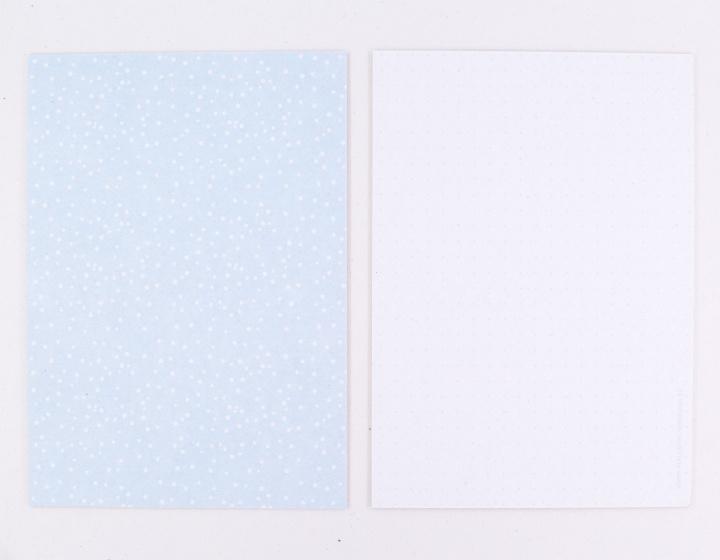 DIY zelf een kaart maken, blauw stippen A6 DIK