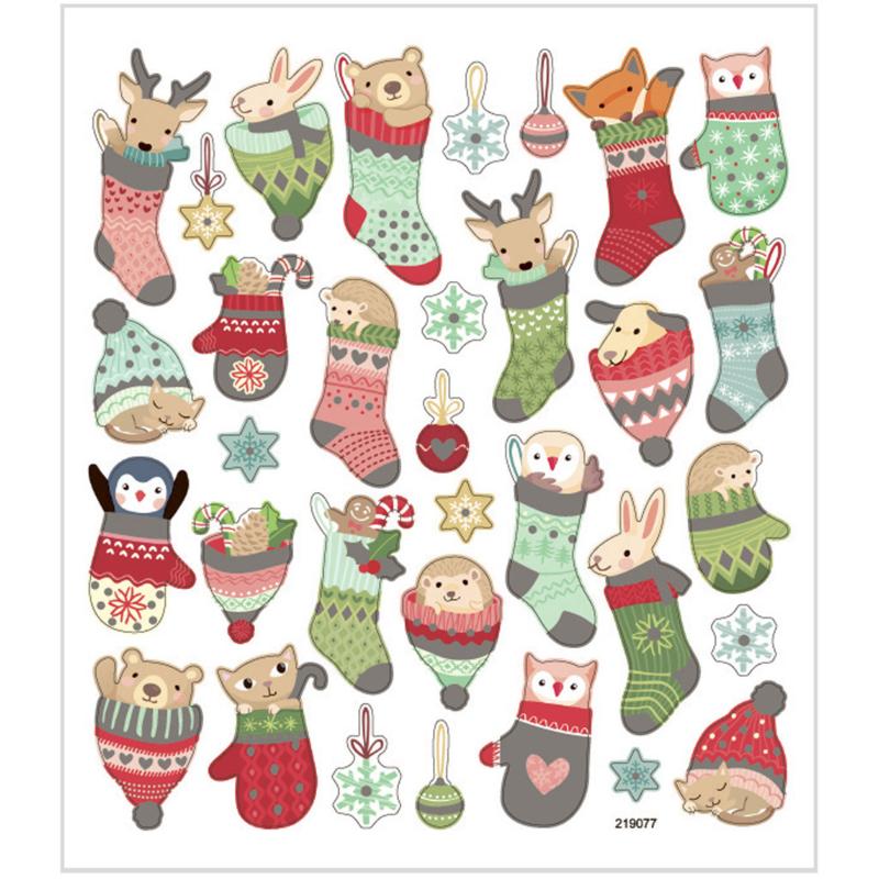 Stickers kerst dieren in sok