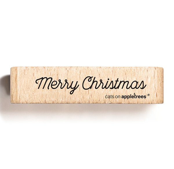 Tekst stempel hout   Merry Christmas