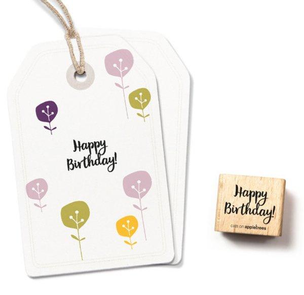 Tekst stempel vierkant happy birthday