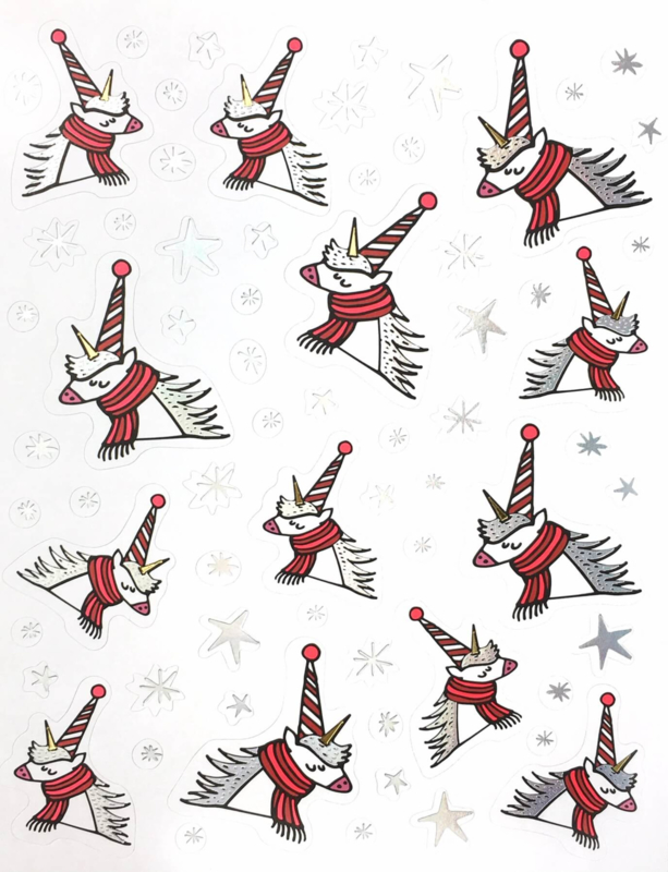 Stickers winter/ kerst unicorn