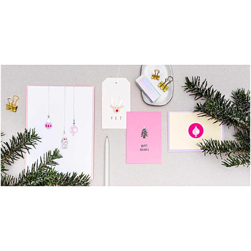 Stickers kerst figuren neon roze