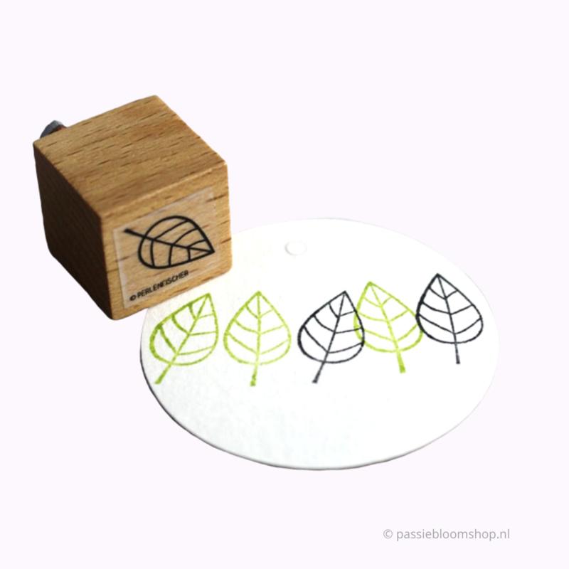 Stempel hout blaadje open