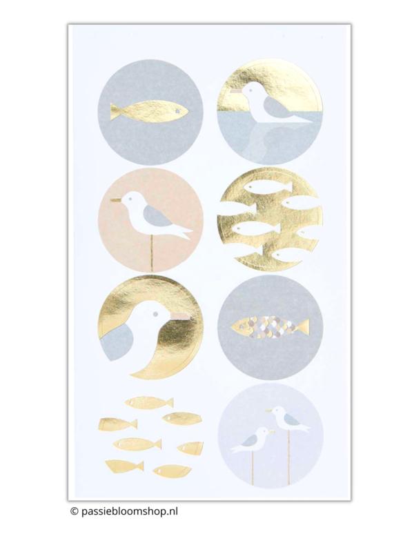 Stickers zee meeuw en vissen
