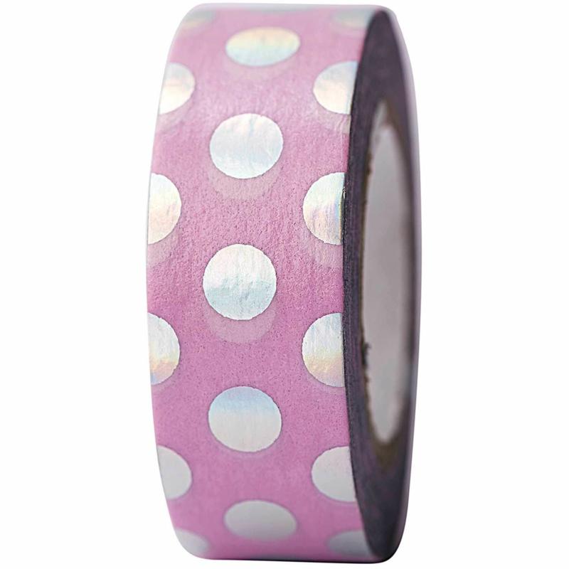 Washi tape roze met iriserende stippen