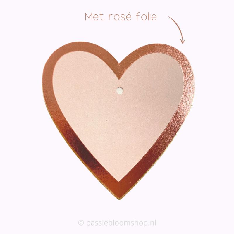 Blanco label hartje roze met rosé folie rand (5 stuks)