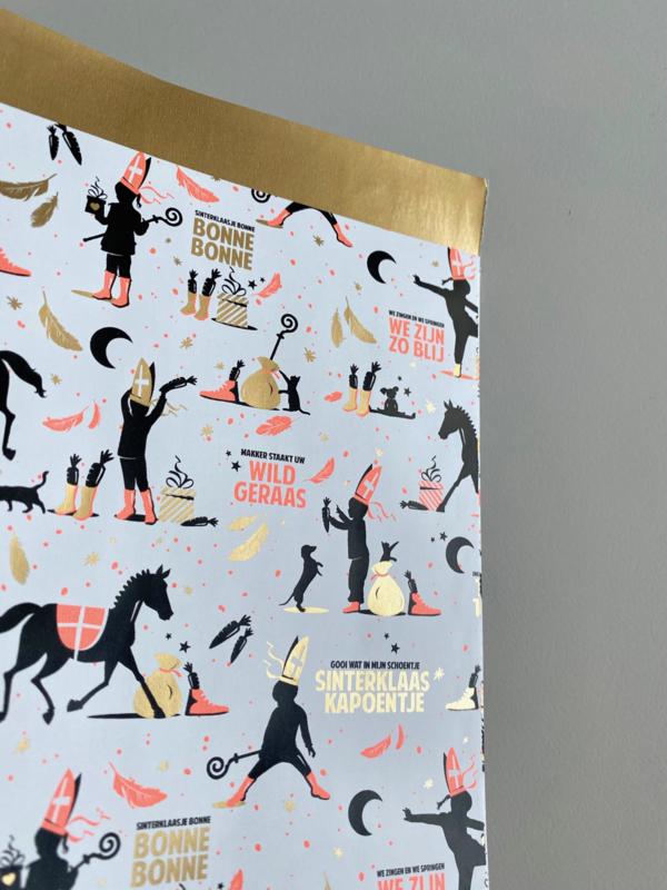 Cadeauzakje sinterklaas papier roze 12x19