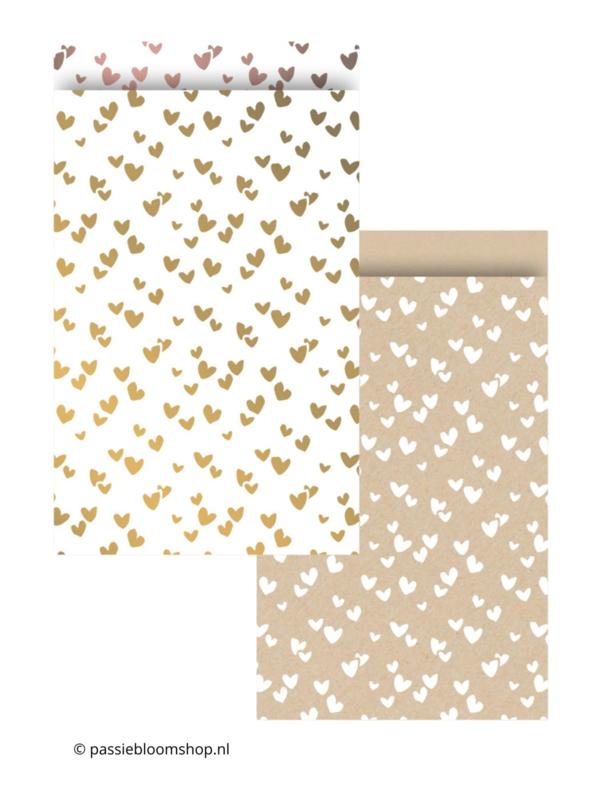 MIX hartjes cadeauzakjes goud en kraft (10 stuks)