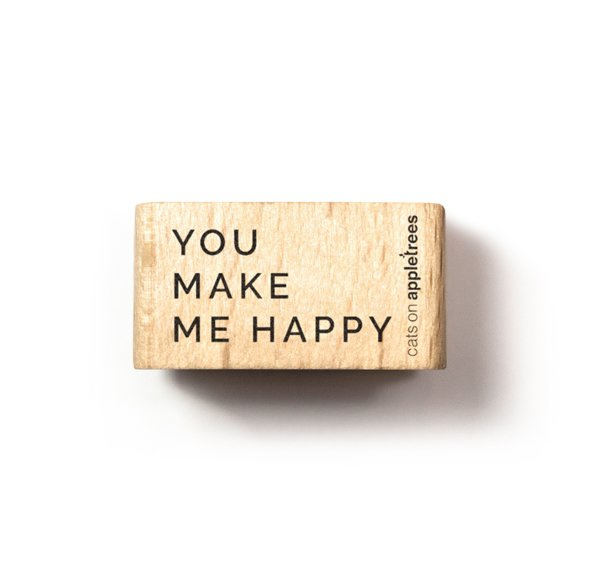 Typemachine tekst stempel you make me happy