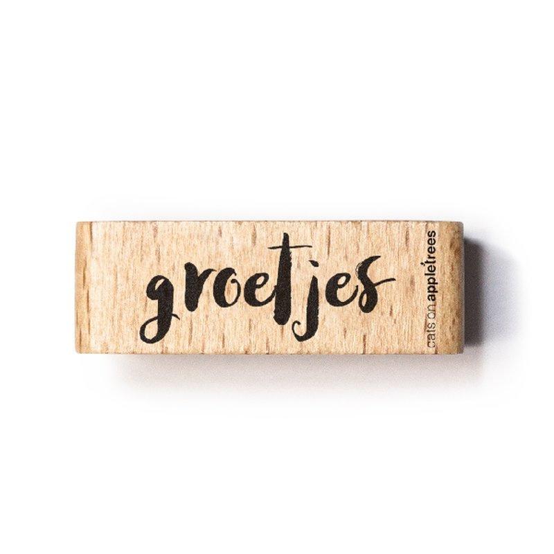 Tekst stempel hout | Groetjes