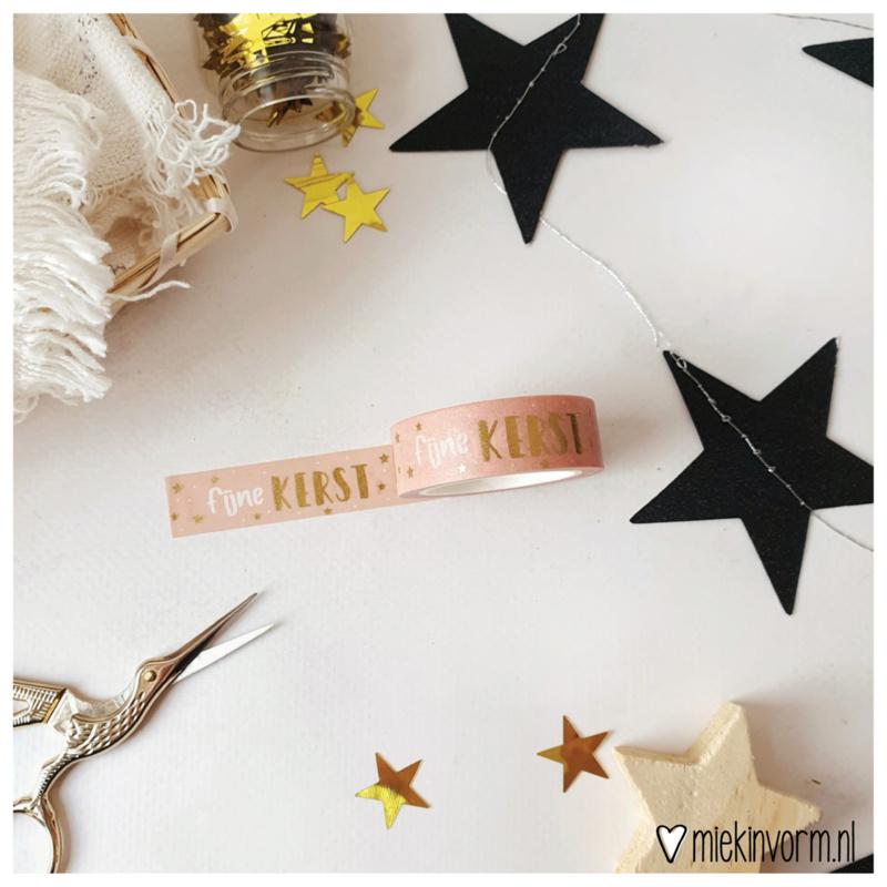 Washi tape roze fijne kerst goudfolie